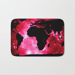 World Map : Red Hot Pink Galaxy Bath Mat