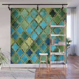 Moroccan Quatrafoil Pattern, Vintage Stained Glass, Blue, Green and Gold Wall Mural