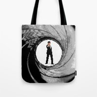 james bond Tote Bags featuring James Bond Game Boy poster by VGPrints