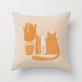 Cat, books and plants II Throw Pillow