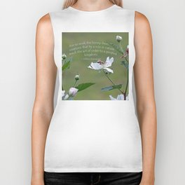 Honeybee on Blackberry Bloom with a William Shakespeare quote added. Biker Tank