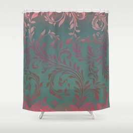 Ombre Damask Teal and Pink Shower Curtain