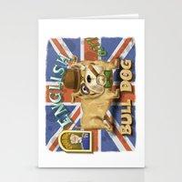 english bulldog Stationery Cards featuring English Bulldog by Brian Raszka Art & Illustration