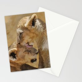 Loving nature of a lion cub Stationery Cards