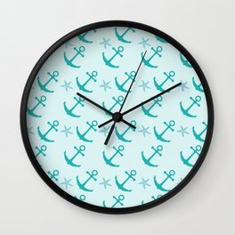 AFE Mint Anchors Wall Clock