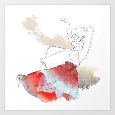 Dancing in the poppies Art Print