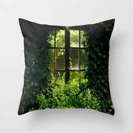 Green idyllic overgrown cottage garden window Throw Pillow