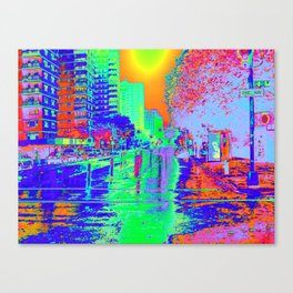 """Rainy Day City"" Canvas Print"