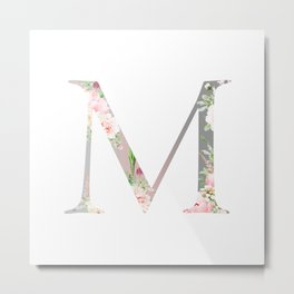 M - Floral Monogram Collection Metal Print
