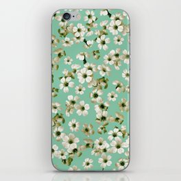 Small flowers on green wall iPhone Skin