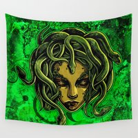 medusa Wall Tapestries featuring Medusa by Spooky Dooky