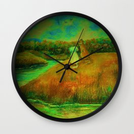 Dogs on hill side water view Wall Clock