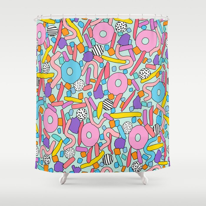 CIRCLES IN MOTION - candy Shower Curtain
