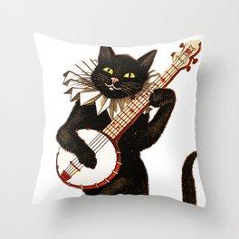 Cat playing a banjo Throw Pillow
