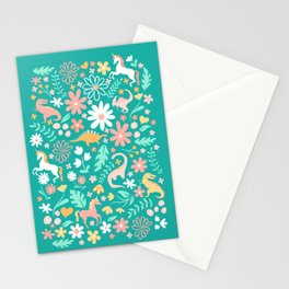Dinosaurs + Unicorns on Teal Stationery Cards
