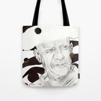 picasso Tote Bags featuring Picasso by Mitja Bokun
