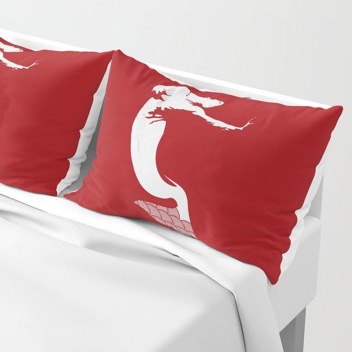 Merman - Red & White - Mermay 2019 Pillow Sham