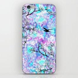 Vintage black bird flowers pink teal watercolor pattern iPhone Skin
