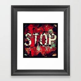 Battered Stop Sign Framed Art Print