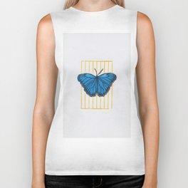 Blue butterfly linocut print Biker Tank