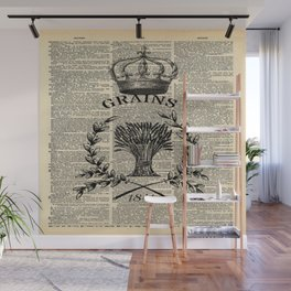 librarian book dictionary print vintage crown french farmhouse wheat bouquet Wall Mural