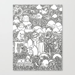Oodles of Doodles of Singapore (White) Canvas Print