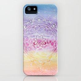 Rainbow Watercolor Mandala iPhone Case
