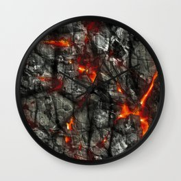 Fiery lava glowing through dark melting stone Wall Clock