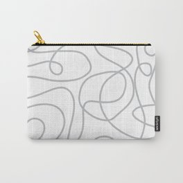 Doodle Line Art   Silver Gray Lines on White Background Carry-All Pouch