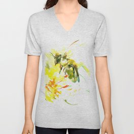 Honey Bee and Yellow Abstrac floral decor Unisex V-Neck