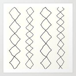 Moroccan Diamond Stripe in Black and White Art Print