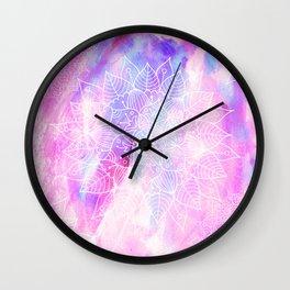 Modern hand painted pink lilac watercolor mandala pattern Wall Clock