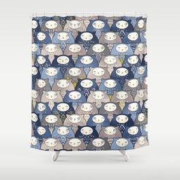 Find a cat in a parliament of owls (Art Deco Kawaii) Shower Curtain