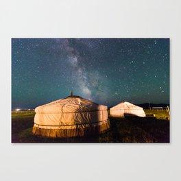Mongolian Yurt with Milkyway Canvas Print