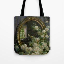 Flowers and Mirror interior living room still life portrait painting by Abbott Fuller Graves Tote Bag