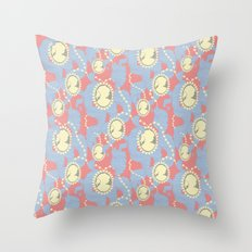 Cameo & Trailing Hair // Blue & Apricot pastels. Throw Pillow
