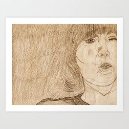 Holding your Mouth Art Print