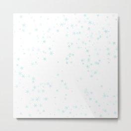 Blue snowflakes on white background Metal Print