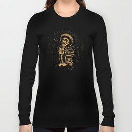 Dia De Los Muertos woodcut Long Sleeve T-shirt