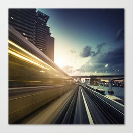 train in tokyo riding fast Canvas Print