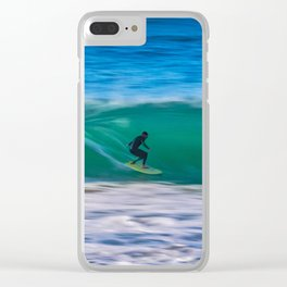 Long Shutter Speed Surfer Clear iPhone Case