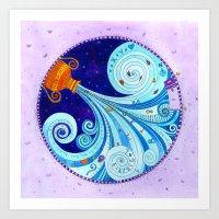 aquarius Art Prints featuring Aquarius by Sandra Nascimento