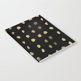 Preppy brushstroke free polka dots black and gold spots dots #society6 #decor #buyart #artprint Notebook