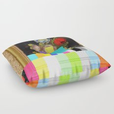 A Painting of Flowers With Color Bars Floor Pillow
