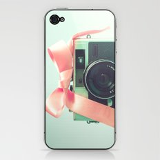 Retro Camera and Pink Bow II iPhone & iPod Skin