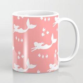 Mermaid Pattern Coral Pink Coffee Mug