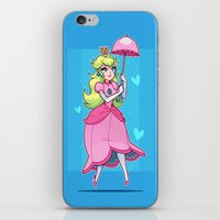 princess peach iPhone & iPod Skins featuring Princess Peach by ZoeStanleyArts