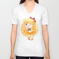 sailor venus V-neck T-shirts featuring Sailor Venus by strawberryquiche