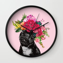 Rose Flower Crown French Bulldog in Pink Wall Clock