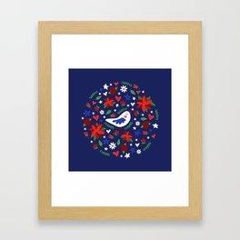 Holiday Bird & Poinsettias Framed Art Print